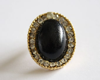 For repurpose - Vintage black gold rhinestone oval orphan earring 25x20mm (1)