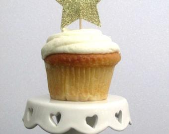 Twinkle Twinkle Little Star Cupcake Toppers Twinkle Star Birthday Star Cupcake Toppers Star Baby Shower Cupcake Toppers Gold Star Toppers