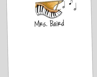 Personalized Piano Notepads // Music Teacher Gift // Music Stationery // Piano Notes