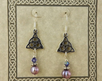 Celtic Triquerta Trinity Knot earrings with purple lilac freshwater pearls & Swarovski crystals