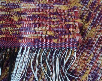 Hand Woven Rag Rug: Red, Purple & Gold