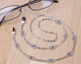 Silver eyeglasses holder chain - elegant link glasses chain | Eyewear accessories | Readers gift | Sunglasses chain | Eyeglasses neck cord
