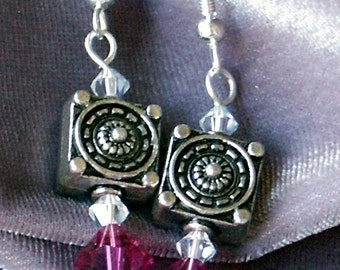 C is for Cozumel Dangle Earrings of Pewter Squares and Swarovski Crystals