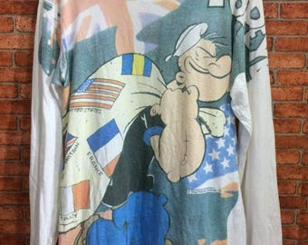 90s vintage t-shirt Popeye over print size M