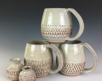 White carved Pottery Mug, contemporary classic pottery, handmade coffee cup, 14 - 16 oz, northwest mug, full handle