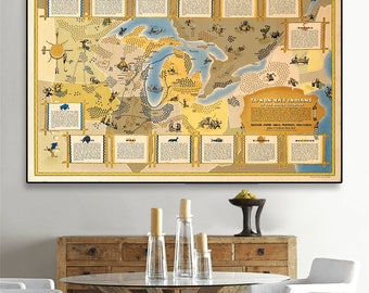 Native Americans wall decor.Great Lakes map showing historical locations of Native American groups, 1942, Vintage Native American poster.