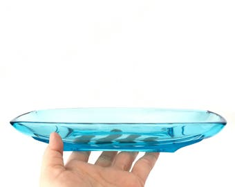Blue glass serving dish - VIKING GLASS - mid century modern - qty 2