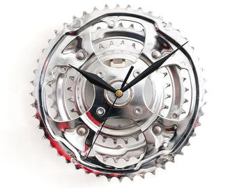 Bike Wall Clock, Bicycle Clock, Unique Clock, Cycling Decor, Bike Gear Clock, Metal Clock, Decor Art, Recycled Clock, Silver Clock