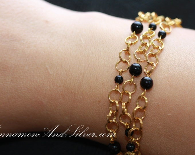 Black and Gold Bead and Jump Ring Chain Bracelet, Black Bead Bracelet,  Bead Bracelet, Simple Black Bracelet, Classy Beaded Black Bracelet