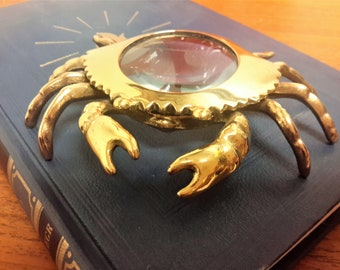 Vintage Brass Crab Magnifying / Magnifier Glass Office Gift  / FREE SHIPPING