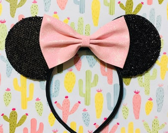 Cute Baby Pink Glitter Bow Tie inspired Black Sparkle Minnie Mouse Headband Ears