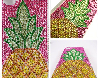Bling Cell Phone Case, Gold Pineapple Rhinestone for iPhone 6/7/8 X Plus, Samsung Galaxy S6/S7/S8/Note, Google Pixel/XL - Pink, Green