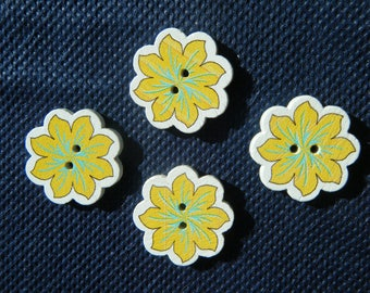 4 Flower Buttons, 20mm Wooden 2-hole Buttons, Yellow Sewing Buttons