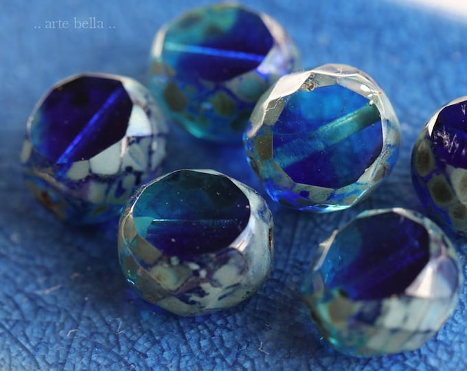 TROPICAL SLABS .. 6 Premium Picasso Czech Table Cut Glass Beads 12mm (6192-6)