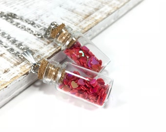 Jar of Hearts Necklace Glass Vial Heart Pendant Heart Confetti in Bottle Heart Bottle Necklace Vial Necklace Apothecary Necklace Teen Gifts