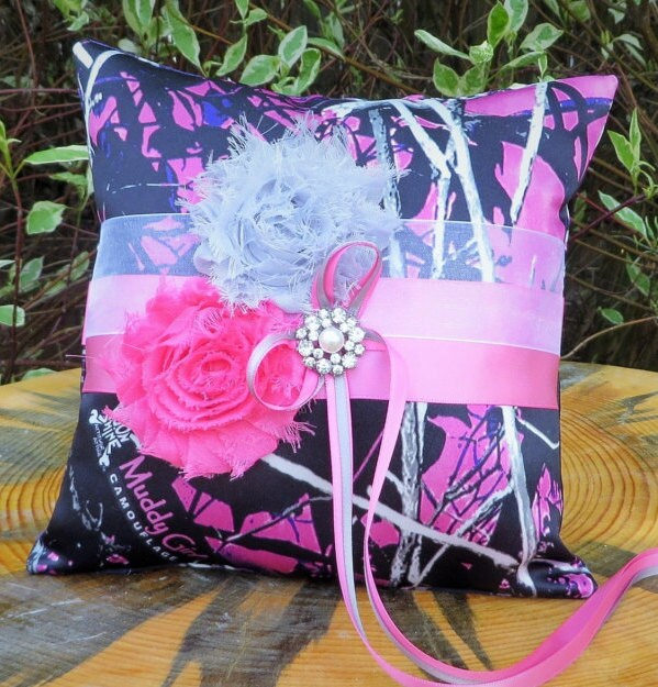 Muddy Girl Camo Ring Bearer Pillow with Pink Accents Purple