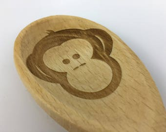 Personalised Wooden Spoon, Table Number Engraved into Wood with Logo if required