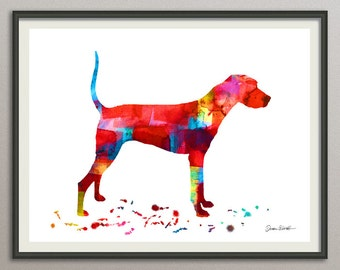plott hound  dog art print watercolor print poster painting wall art silhouette , dog wall art silhouette