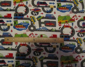 White with Multicolored Vehicles/Car/Truck/Roads/Helicopter Flannel Fabric by the Yard