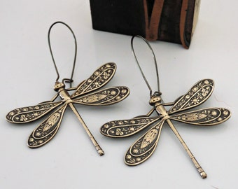 Vintage Earrings - Art Deco Earrings - Dragonfly Earrings - Brass Earrings - Nature Jewelry - Statement Earrings - handmade jewelry