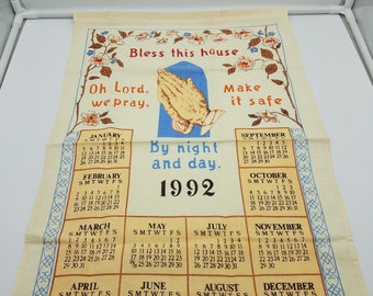 Praying Hands Tea Towel Bless This House 1992