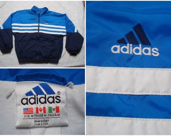 Vintage Retro Men's 90's Adidas Jacket Blue White Stripe Full Zip Windbreaker Jacket Medium