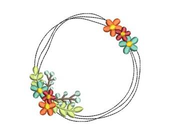 Floral Wreath Monogram Frame Embroidery Design - Instant Download