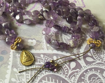 amethyst coin mala with brass finish