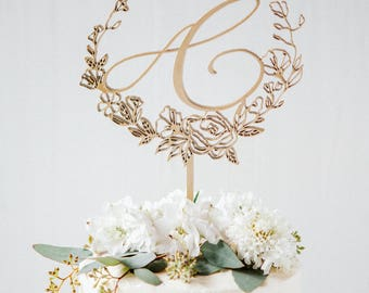 Custom Cake Topper -Floral Monogram Wedding Cake Topper-Laser Cut Statement Toppers-Personalized, Gold, Vintage Wedding, Modern, Calligraphy