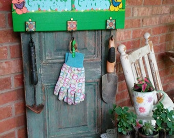 Grateful Garden Whimsical Hand Painted Hanging Wood Sign with Hooks-Grateful Dead Inspired-Garden Sign-Garden Decor-Hippie-Gardener-Yard Art