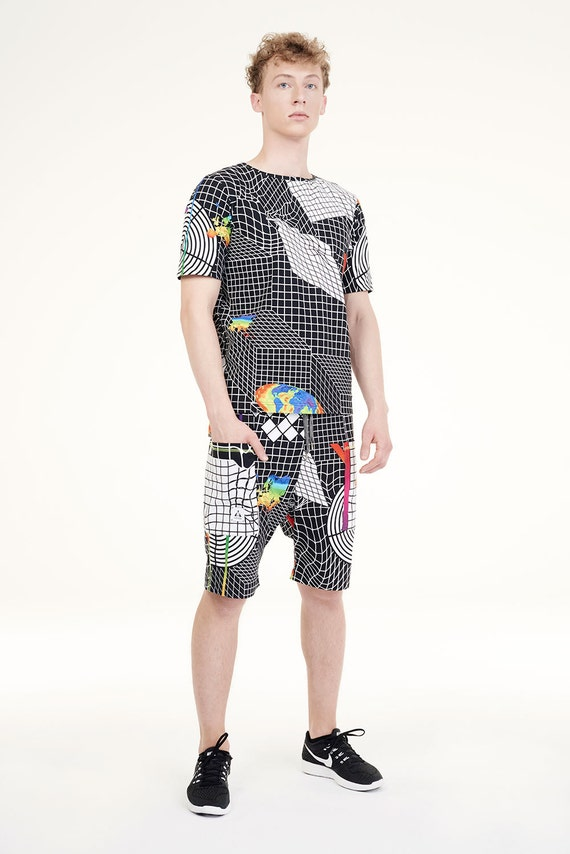 NEW COLLECTION printed mens black SHORTS organic cotton DOvAf6uV6