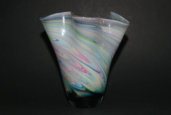 Collectible Art Glass Cased Glass Cone Shaped Vase With Blue
