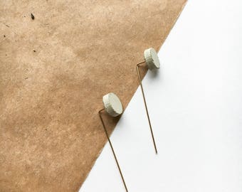 Reversible Circle Concrete Threader Earrings Minimalist Ear Threaders Gold cement earrings minimal unique hypoallergenic