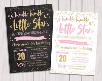 Twinkle Twinkle Little Star First Birthday Party invitation, Pink and gold 1st invite,  Chalkboard Gold Glitter, Girl, Printable Invitation