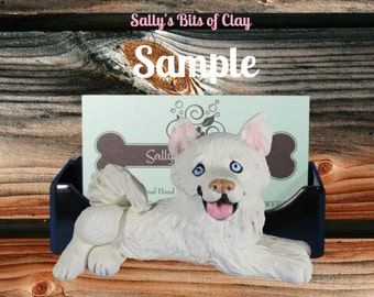 White Siberian Husky dog BLUE EYES Business Card Holder / Iphone / Cell phone / Post it Notes OOAK sculpture by Sally's Bits of Clay