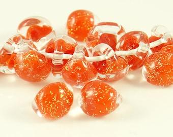 10mm Unicorne Tear Drop Lampwork Beads - Whatta Lava Glitter - 4 Pieces - 22058