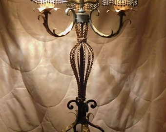 Lamp,French Style, Three Arm, Silk Twisted Shades,Black and Gold,Home Decor, Elegant,Rope Detail, Scroll Work,RustedSilkReloaded