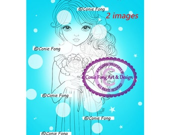Digital Stamp, Digi Stamp, digistamp, coloring page, 2 images, Ella Fleur by Conie Fong, birthday, girl, flower, peony