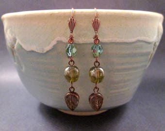 Leaf Earrings, Autumn Iridescence, Nuggets Leaves and Faceted Glass, Copper Dangle Earrings, FREE Shipping U.S.