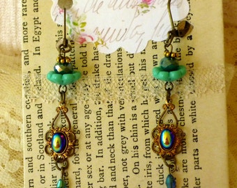 Aqua Blue Green Flower Dangle Earrings