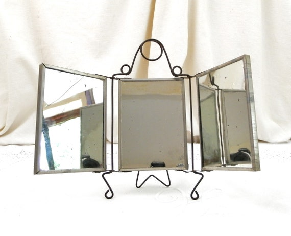 Rare Antique French Small Free Standing Triptych Mirror Wire Work Frame with Printed Images, 3 Piece Make up Mirrored Bathroom from France