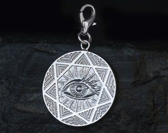Eye of providence trinket wizard star sterling silver 925 oringo jewelry wisdom symbol all-seeing eye
