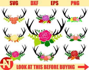 Antler floral swag svg Deer svg Deer antler svg Deer antlers svg Floral svg Flower svg Rose svg files for Cricut Silhouette cut files