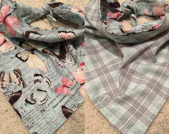 25 inch butterflies with teal plaid around the neck tie on bandana