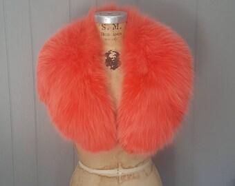 PINK Fox Fur Collar / 1970s