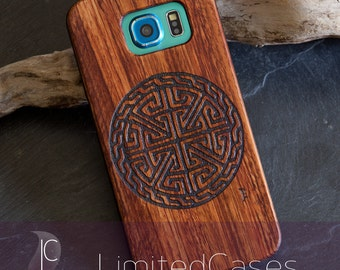 Case for Samsung Galaxy S6 with rosewood Edition, laser-engraved 'Celtic circle'