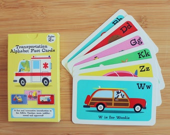 Alphabet Flashcards, Fun Fact Cards, ABC Flashcards, Transportation Flashcards,  Vehicles Alphabet, ABC Theme, Cars ABC, Flashcards for kids
