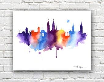 Zurich Skyline - Watercolor Art Print - Wall Decor