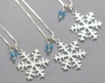 Sterling Silver Snowflake Necklace, Winter Wedding Necklace, Winter Bridesmaid Jewelry, Flower Girl Necklace, Flower Girl Gift Necklace