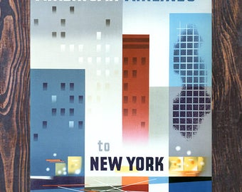 American Airlines to New York, Vintage Travel Ad, Vintage New York Art, Giclee Art Print, fine Art Reproduction